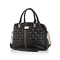 Black gem stone quilted bowler bag