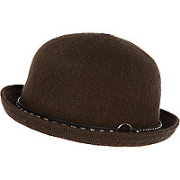 Khaki green soft bowler hat