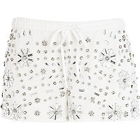 White gem stone embellished smart shorts