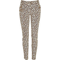 Brown leopard print skinny trousers