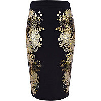 Black oriental placement print pencil skirt