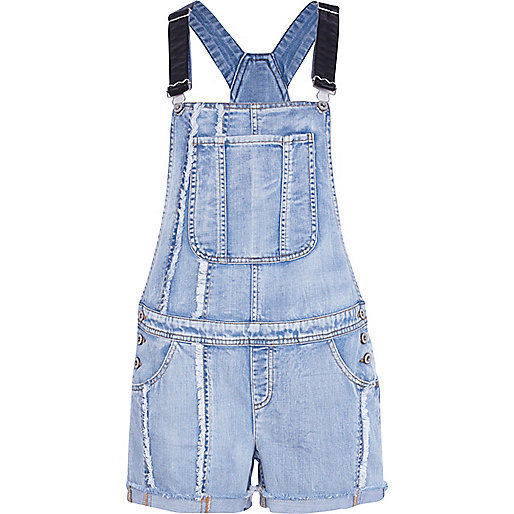 Light wash frayed panel denim dungarees