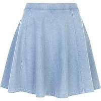 Light blue acid wash skater skirt