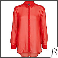 Red Rihanna sheer shirt