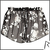 Black floral print Rihanna sheer shorts