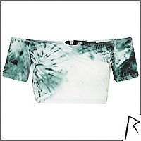 Green tie dye Rihanna bardot crop top