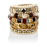 Gold tone animal print eclectic bracelet pack