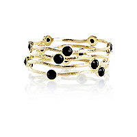 Black gem stone bangle pack