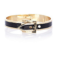 Black enamel belt buckle bracelet