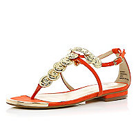 Coral coin embellished sandals