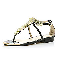Black coin embellished sandals