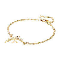 Gold tone swallow bracelet