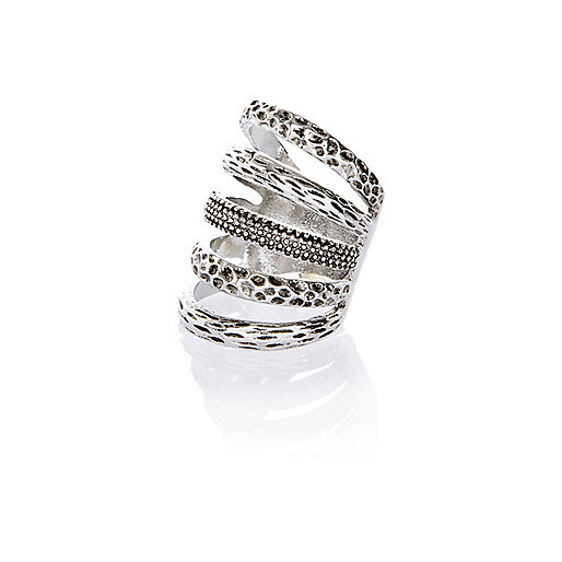 Silver tone textured stack ring