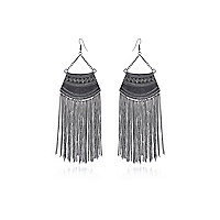 Silver tone tribal tassel drop earrings