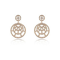 Gold tone diamante circle earrings