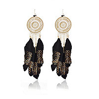 Black filigree tribal feather earrings