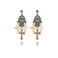 White filigree hand and cross drop earrings