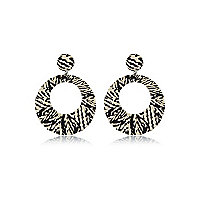 Black zebra print fabric circle earrings