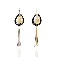 Gold tone beetle tassel drop earrings