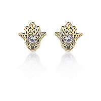 Gold tone and diamante talisman hand earrings