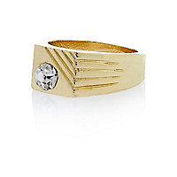 Gold tone gem embellished pinkie ring