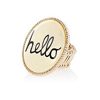 Cream hello enamel ring