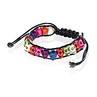 Multicoloured skull bead bracelet