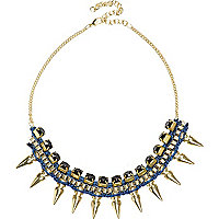 Blue cord wrapped spike necklace