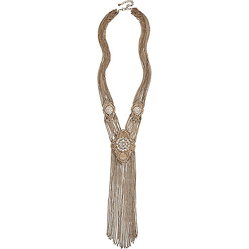 Gold tone rhinestone chain scarf-necklace