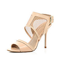 Pink mesh panel cuffed stiletto sandals