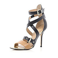 Black cross over buckle stiletto sandals