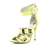 Lime chunky buckle stiletto sandals
