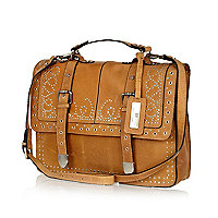 Tan studded leather satchel