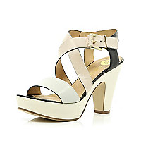Cream cross over strap platform sandals