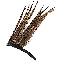 Brown feather crown head band