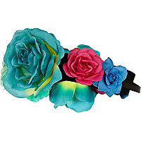 Blue oversized flower stretch head band