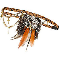 Brown feather chain hair band
