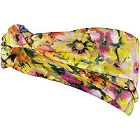 Yellow ditsy print turban head band