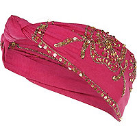 Pink mirror embellished turban head band
