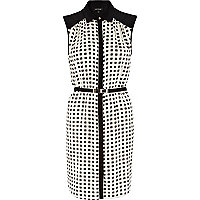Black and white square print shirt dress