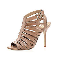 Pink gladiator stiletto sandals
