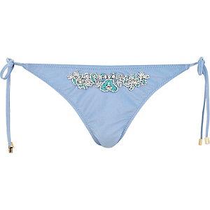 Light blue Pacha embellished bikini bottoms