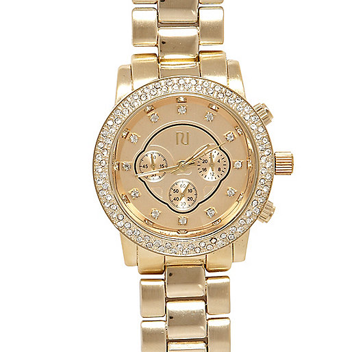 Gold tone diamante chunky bracelet watch