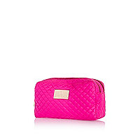 Pink neon quilted make up bag