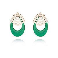 Green retro drop earrings