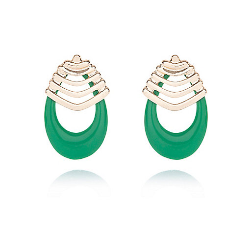 Green retro drop earrings
