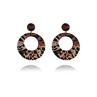Brown leopard print oversize hoop earrings