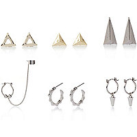 Silver and gold tone eclectic earrings pack