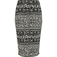 Cream and black tribal print pencil skirt