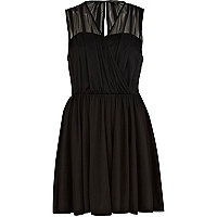 Black sheer ruched wrap skater dress